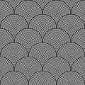 Black and white psychedelic circular textile pattern vector illustration Royalty Free Stock Photo