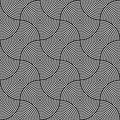 Black and white psychedelic circular textile pattern vector illustration Royalty Free Stock Images