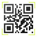 Black and white qr code with green reader frame illustration Royalty Free Stock Images