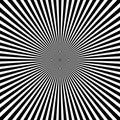 Black white radial rays. Monochrome sunburst vector background Royalty Free Stock Photo