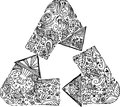 Black and white recycle arrows triangle of sketched doodle illustration Stock Image