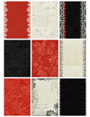 Black, White, Red Artist Trading Card Backgrounds Royalty Free Stock Photo