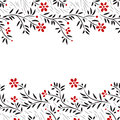 Black white and red flowers horizontal seamless border on white, vector Royalty Free Stock Photo