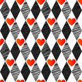 Black white red love valentin s day love harlequin seamless background rhombus hearts Stock Images