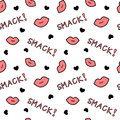 Black white and red seamless pattern background illustration with lips hearts and smack words vector Stock Photo