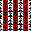 Black white and red sponge print triangles geometric grunge seamless pattern, vector
