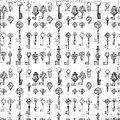Black and white repeat antique key pattern Royalty Free Stock Photo