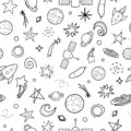 Vector seamless pattern of space objects