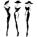 Black and white retro fashion models set in sketch style. Hand drawn