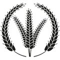 Black and white ripe wheat ear wreath silhouette Royalty Free Stock Photo