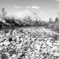Black and white rock riverbed truckee river reno Royalty Free Stock Image