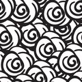 Black and white rose flowers seamless digital hand drawn ink pattern. Poster with different doodles for fabric, wrapping