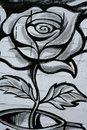 Black and white rose street graffiti detail Royalty Free Stock Photo