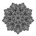 Black and white round circle lace pattern mandala. Vector illustration.