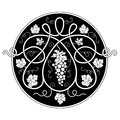 Black and white round decorative element with a vine Royalty Free Stock Photography