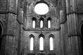 Black and white ruins of the church Royalty Free Stock Photo