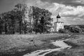 Black and white. Russian landscape. The Church of the Intercession on the Nerl. Royalty Free Stock Photo