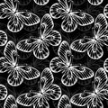 Black and white seamless background with flying butterflies.