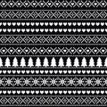 Black and white seamless Christmas pattern - Scandinavian sweater style. Royalty Free Stock Photo