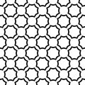 Black and white seamless curved octagon pattern