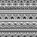 Black and white seamless ethnic background. Vector illustration.