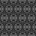 Black and White Seamless Ethnic Boho Pattern. Ikat. Background f