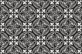 Black-and-white seamless gothic floral pattern Royalty Free Stock Photo