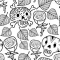 Black and white seamless illustration with roses and sugar skulls.