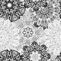 Black and white seamless mandala pattern. Monochrome seamless background with flowers. Hand-drawn vector illustration