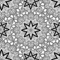 Black and white seamless mandala pattern. Monochrome seamless background with stars. Hand-drawn vector illustration