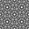 Black and white seamless oriental pattern. Monochrome seamless background with mandalas. Hand-drawn vector illustration
