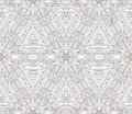 Black and white seamless ornament done in kaleidoscopic style.