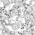 Black and white seamless pattern with adorable safari animals. Coloring page for adult and kids Royalty Free Stock Photo