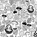 Black and white seamless pattern with autumn forest gifts.