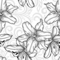 Black and white seamless pattern with blue lilies flowers and abstract floral swirls Royalty Free Stock Photo