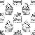Black and white seamless pattern with cakes for coloring books.