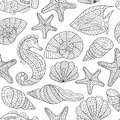 Black and white seamless pattern for coloring book. Sea life Royalty Free Stock Photo