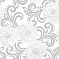 Black and white  seamless pattern with dahlia flowers and abstract floral swirls Royalty Free Stock Photo