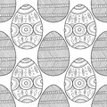Black, white seamless pattern of decorative eggs for coloring page.