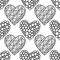 Black and white seamless pattern with decorative hearts for coloring book, page. Romantic ornament.