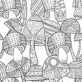 Black and white seamless pattern with decorative mushrooms for coloring book.
