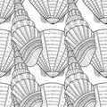 Black white seamless pattern with decorative sea shells for coloring