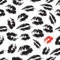 Black and white seamless pattern with elements of a kiss, lips, smile