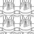 Black and white seamless pattern with fashion bags for coloring