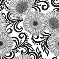 Black and white seamless pattern with gerbera flowers and abstract floral swirls