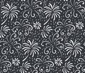 Black and white seamless pattern with hand drawn fireworks. Monochrome holiday vector endless background