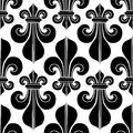 Black & white seamless pattern heraldry royal lily. Royalty Free Stock Photo