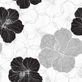 Black and white  seamless pattern with hibiscus flowers. Royalty Free Stock Photo