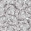 Black and white seamless pattern with irises. Hand-drawn floral