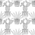 Black and white seamless pattern of ornamental cacti and succulents for coloring books, pages